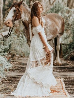 Boho Wedding Dress 2021 Lace Off The Shoulder A Line Floor Length Lace Bridal Gown_3