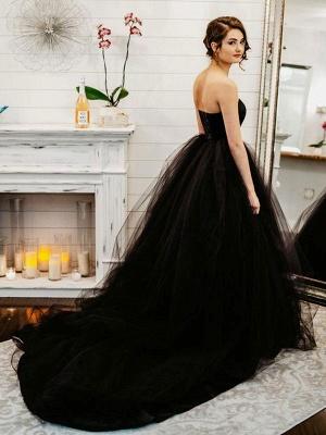 Black Wedding Gownses A-Line Strapless Pleated Taffeta Tulle Chapel Train Wedding Dresses_4