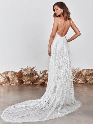 Wedding Dress Ivory V-Neck Backless Sleevelesslace Wedding Gowns With Train_4