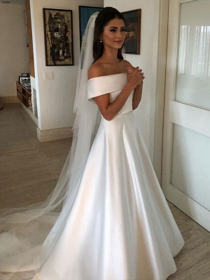 Vintage Wedding Dresses 2021 Off The Shoulder Short Sleeve A Line Satin Traditional Bridal Gowns With Sweep Train_1