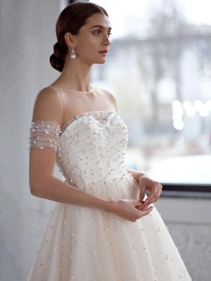 White Wedding Dress A-Line Wedding Gowns Beaded Tulle Wedding Dress_4