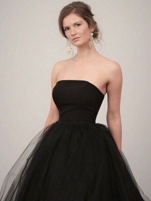 Black Wedding Gownses A-Line Strapless Pleated Taffeta Tulle Chapel Train Wedding Dresses_2