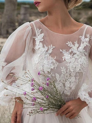 Cheap Wedding Dresses A Line Tulle Jewel Neck Long Sleeves Lace Bridal Gowns_3