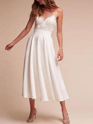 Short Wedding Dresses V Neck Sleeveless A Line Tea Length Straps Bridal Gowns