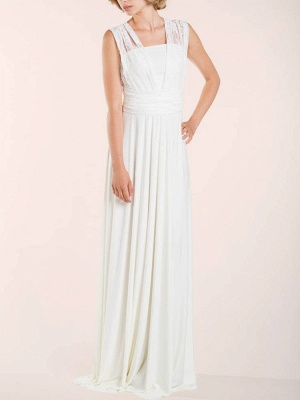 Simple Wedding Gowns Sheath V Neck Sleeveless Pleated Floor Length With Train Lace Wedding Dresseses_5