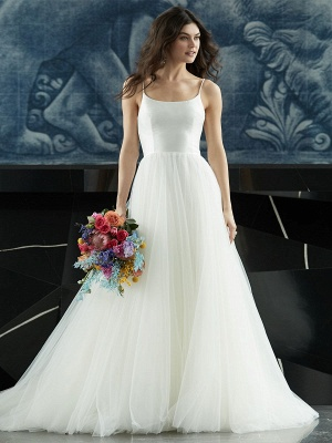 White Wedding Dress Designed Neckline Sleeveless Backless Zipper Tiered With Train Tulle Long Wedding Gowns_6