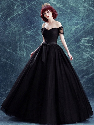 Gothic Wedding Gownses Tulle Princess Silhouette Short Sleeves Natural Waist Pleated Floor-Length Bridal Gown_1
