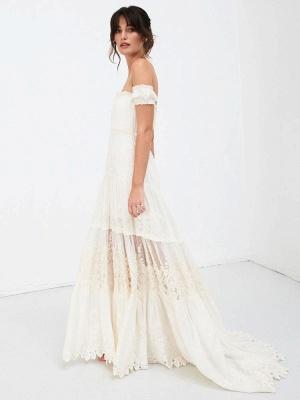 Boho Wedding Dress 2021 Lace Off The Shoulder A Line Floor Length Lace Bridal Gown_9