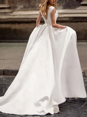 Vintage Wedding Dress 2021 A Line Bateau Neck Sleeveless Floor Length Satin Bridal Gown_2