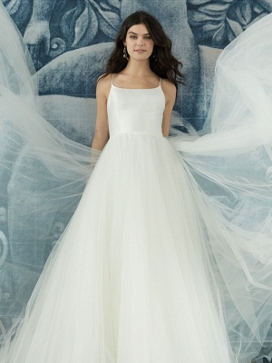 White Wedding Dress Designed Neckline Sleeveless Backless Zipper Tiered With Train Tulle Long Wedding Gowns_5