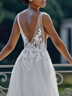 Vintage Wedding Dress 2021 A Line V Neck Straps Sleeveless Lace Appliqued Tulle Bridal Gown_4