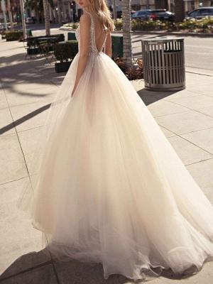 Bridal Dress 2021 A Line V Neck Sleeveless Beaded Court Train Front Split Tulle Wedding Gowns_2