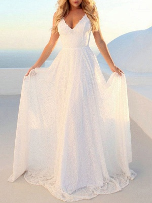 Simple Wedding Gownses 2021 A Line V Neck Straps Backless Floor Length Classic Bridal Gowns_3
