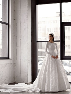 White Simple Wedding Gowns With Train A-Line Jewel Neck Long Backless Sleeves Satin Fabric Bridal Gowns_2