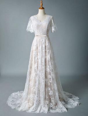 Cheap Wedding Dress 2021 V Neck A Line Short Sleeve Deep V Backless Lace Wedding Gowns_4