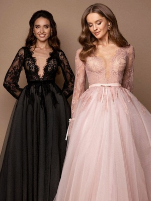 Black Wedding Dress With Train A-Line V-Neck Long Sleeves Lace Sweep Tulle Lace Wedding Gowns_3