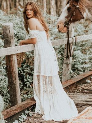Boho Wedding Dress 2021 Lace Off The Shoulder A Line Floor Length Lace Bridal Gown_4