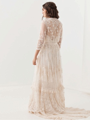Boho Wedding Dresses Suit 2021 V Neck Floor Length Lace Multilayer Bridal Gown Dress And Outfit_6
