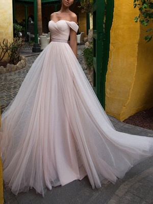 Wedding Gowns 2021 A Line Off The Shoulder Short Sleeves Sash Sweetheart Neck Bridal Gowns_1