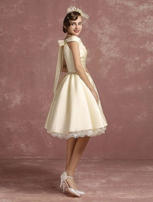 Short Wedding Gownses Satin Vintage Princess Wedding Dresses Knee Length Sleeveless Lace Edge Pleated Bridal Gown With Ribbon Bow Exclusive_7