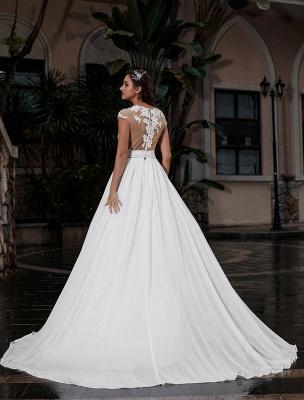 Wedding Gowns Beach A-Line Silhouette Jewel Neck Lace Bodice Chiffon Wedding Gown_3