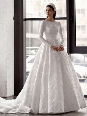 White Simple Wedding Gowns With Train A-Line Jewel Neck Long Backless Sleeves Satin Fabric Bridal Gowns_1