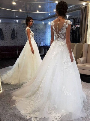 Wedding Dress Jewel Neck Sleeveless Lace Flora A Line Tulle Bridal Gowns For Beach Wedding_2