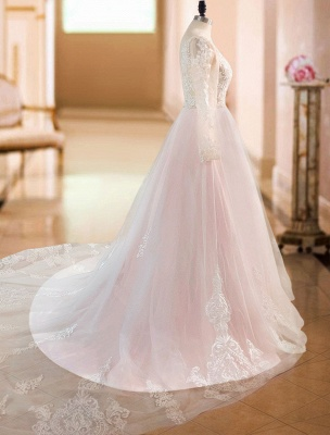 A Line Wedding Dresses V Neck Long Sleeve Lace Applique Tulle Bridal Gowns With Chapel Train_5