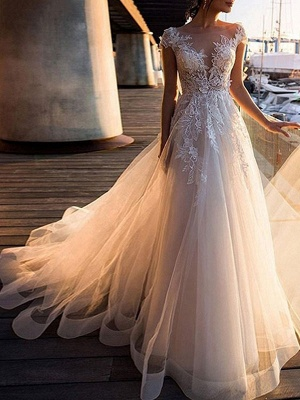 Wedding Dresses A Line Tulle V Neck Short Sleeves Lace Bridal Gowns With Train_1