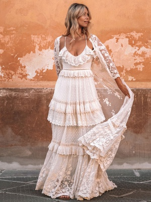 Boho Wedding Dresses Suit 2021 V Neck Floor Length Lace Multilayer Bridal Gown Dress And Outfit_2