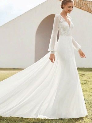 Ivory Simple Wedding Dress With Train A Line V Neck Long Sleeves Lace Bridal Gowns_2