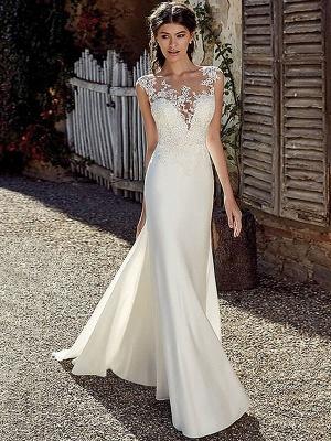 White Cheap Wedding Dresses White Chiffon Illusion Neckline Sleeveless Court Train Applique Sheath Bridal Gowns_1