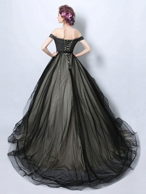 Gothic Loyal Wedding Dresses Princess Silhouette Sleeveless Pleated Tulle Court Train Bridal Gown_2