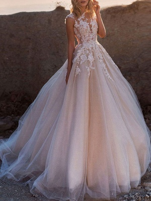 Wedding Dresses 2021 Princess Silhouette Jewel Neck Sleeveless Natural Waist Lace Soft Pink Tulle Bridal Gowns_1