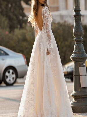 Cheap Wedding Dress A Line V Neck Long Sleeves Lace Floor Length Wedding Gowns_2