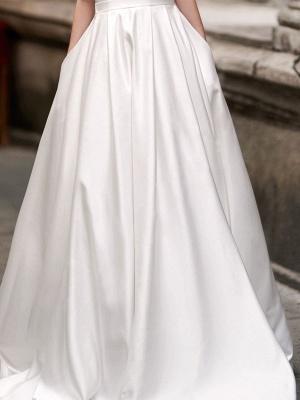 Vintage Wedding Dress 2021 A Line Bateau Neck Sleeveless Floor Length Satin Bridal Gown_5