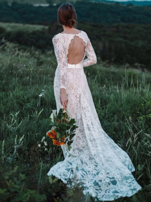 Wedding Gowns With Train A-Line Long Sleeves V-Neck Ivory Lace Bridal Gowns_3