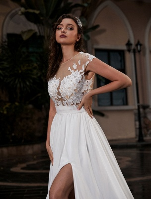 Wedding Gowns Beach A-Line Silhouette Jewel Neck Lace Bodice Chiffon Wedding Gown_4