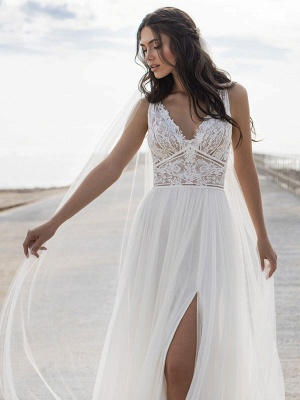 White Cheap Wedding Dresses V-Neck Sleeveless Backless Natural Waist Lace Chiffon A-Line Long Bridal Gowns_3