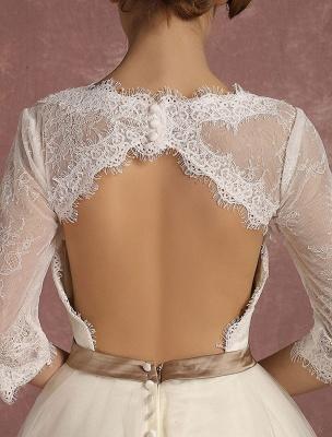 Vintage Wedding Dress Short Lace Tulle Bridal Dress Half Sleeve V Neck Backless A Line Flower Sash Tea Length Bridal Gown Exclusive_10