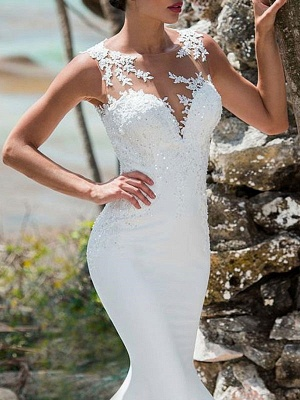 Wedding Dresses 2021 Mermaid Lace Jewel Neck Sleeveless Back Hollow Out Bridal Gowns With Train_2