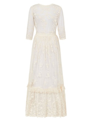 Boho Wedding Dresses Suit 2021 V Neck Floor Length Lace Multilayer Bridal Gown Dress And Outfit_10