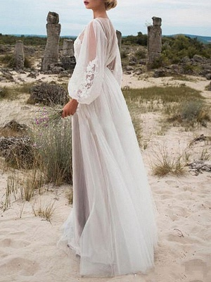 Cheap Wedding Dresses A Line Tulle Jewel Neck Long Sleeves Lace Bridal Gowns_2