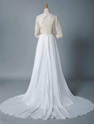 Boho Bridal Dresses 2021 Jewel Neck Long Sleeve A Line Floor Length Chffion Bridal Dress For Beach Wedding_5