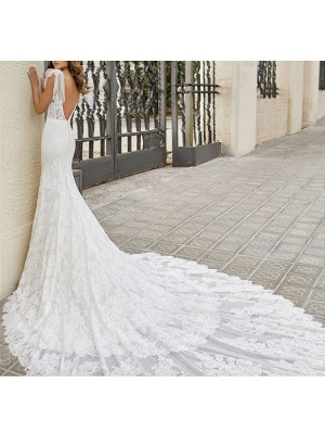 Wedding Dress With Train Mermaid Dress Sleeveless Lace V Neck Long Bridal Gowns_4