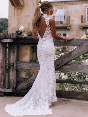 Boho Wedding Gowns 2021 Sheath High Neck Sleeveless Floor Length Bridal Gown_3