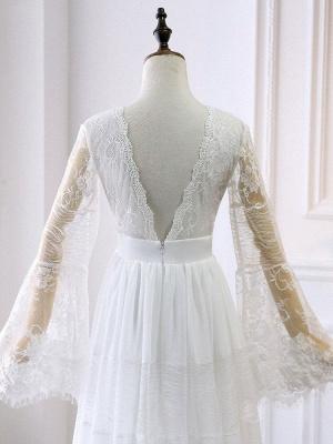 Boho Bridal Dresses 2021 A Line Deep V Neck Multilayer Lace Chiffon Beach Party Dress Wedding Gowns_6