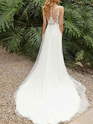 Vintage Wedding Dress Sheath Jewel Neck Sleeveless Split Front Bridal Gowns_2