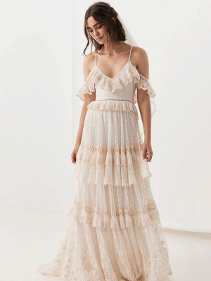 Boho Wedding Dresses Suit 2021 V Neck Floor Length Lace Multilayer Bridal Gown Dress And Outfit_7