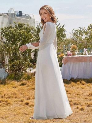 White Cheap Wedding Dress A-Line V-Neck Long Sleeves Natural Waist Chiffon Long Bridal Dresses_4